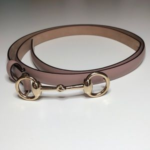 Gucci Pink Gold Tone Horsebit Belt